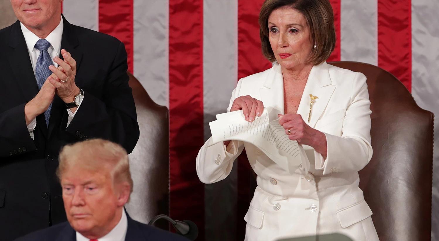 Pelosi: rasga discurso de Trump em pleno congresso