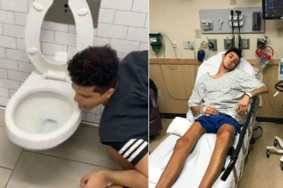 Influenciador acusa covid-19 após lamber vaso sanitário