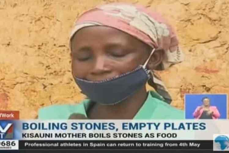 Mulher 'cozinha' pedras para os oito filhos
