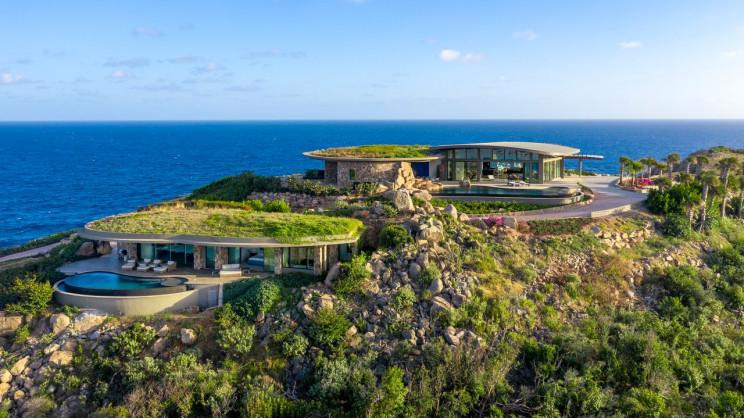 A mansão foi construída sobre uma rocha nas Ilhas Virgens Britânicas